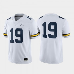 #19 For Men's Game Michigan Jersey White 456876-240