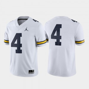 White For Men's Game #4 College Football Michigan Jersey 151437-183