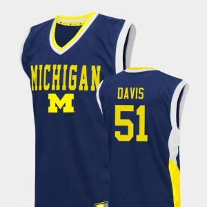 #51 Men's Blue College Basketball Fadeaway Austin Davis Michigan Jersey 769196-696