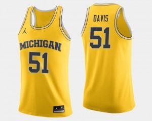Men's Maize Austin Davis Michigan Jersey #51 College Basketball 312160-917