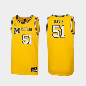 1989 Throwback College Basketball Men Austin Davis Michigan Jersey Maize Replica #51 244463-367