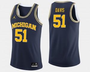 Mens Navy #51 College Basketball Austin Davis Michigan Jersey 558304-754