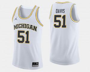 #51 Mens Austin Davis Michigan Jersey College Basketball White 380831-986