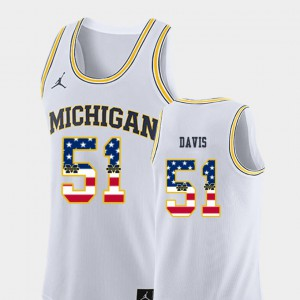 Mens College Basketball USA Flag #51 Austin Davis Michigan Jersey White 186751-385