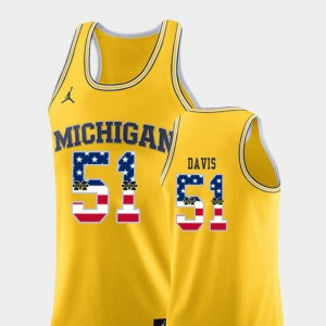 Austin Davis Michigan Jersey USA Flag Yellow #51 College Basketball Mens 696047-655