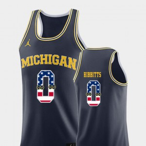 Brent Hibbitts Michigan Jersey Navy College Basketball USA Flag #0 For Men 756921-881