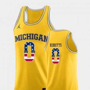 USA Flag Brent Hibbitts Michigan Jersey Yellow Men #0 College Basketball 229810-430