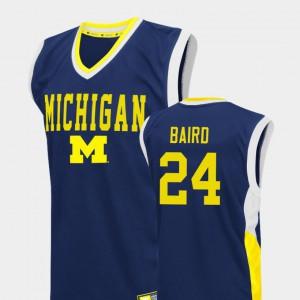 Fadeaway #24 College Basketball Blue Men C.J. Baird Michigan Jersey 633270-467