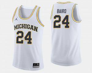 College Basketball C.J. Baird Michigan Jersey Men White #24 973909-203