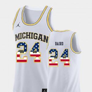 C.J. Baird Michigan Jersey #24 USA Flag Men's College Basketball White 632153-229