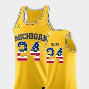C.J. Baird Michigan Jersey Yellow USA Flag #24 Mens College Basketball 963416-487