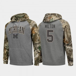 For Men's Charcoal Raglan College Football Joe Milton Michigan Hoodie Realtree Camo #5 851783-577