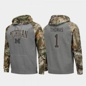 Ambry Thomas Michigan Hoodie #1 Mens Charcoal Raglan College Football Realtree Camo 500091-505