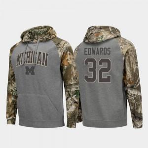 Realtree Camo Raglan College Football Charcoal Berkley Edwards Michigan Hoodie #32 For Men 142972-441