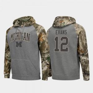 Realtree Camo Raglan College Football Chris Evans Michigan Hoodie For Men #12 Charcoal 673572-901