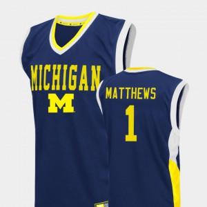 Fadeaway Men's College Basketball #1 Charles Matthews Michigan Jersey Blue 862532-180