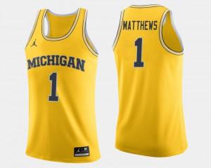 Men Charles Matthews Michigan Jersey Maize College Basketball #1 991882-691