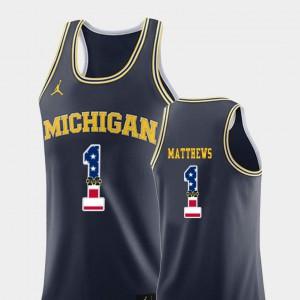 For Men's College Basketball USA Flag Charles Matthews Michigan Jersey Navy #1 968567-873