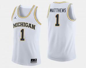 College Basketball Mens White #1 Charles Matthews Michigan Jersey 406401-888