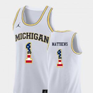 USA Flag College Basketball #1 Men White Charles Matthews Michigan Jersey 987748-517