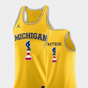 Yellow Men's Charles Matthews Michigan Jersey #1 College Basketball USA Flag 706789-922