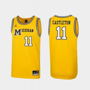 For Men's Replica Colin Castleton Michigan Jersey Maize 1989 Throwback College Basketball #11 366234-881
