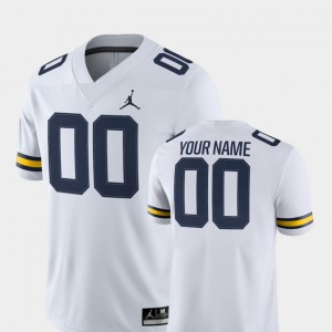 College Football White #00 For Men's 2018 Game Michigan Customized Jersey 259245-360
