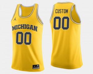 #00 Mens Michigan Customized Jerseys Maize College Basketball 546611-794