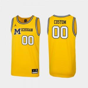 Replica Men's Michigan Custom Jersey Maize #00 1989 Throwback College Basketball 784394-356