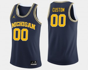 College Basketball Michigan Customized Jerseys #00 For Men's Navy 798870-275