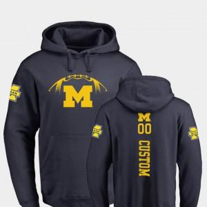 Mens College Football Michigan Customized Hoodies Backer #00 Navy 668522-520
