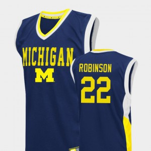 Mens Fadeaway College Basketball #22 Blue Duncan Robinson Michigan Jersey 938390-782