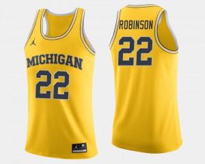 #22 Duncan Robinson Michigan Jersey College Basketball Maize Mens 122555-316