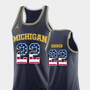 USA Flag Duncan Robinson Michigan Jersey Navy #22 College Basketball Men's 114879-250