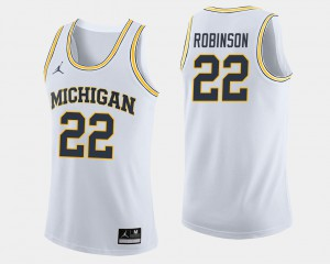 #22 College Basketball Men's Duncan Robinson Michigan Jersey White 843379-901