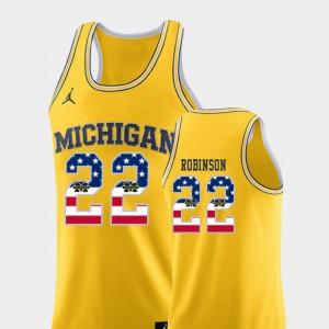 Yellow Men Duncan Robinson Michigan Jersey USA Flag College Basketball #22 654054-590