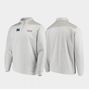 For Men Michigan Jacket Shep Shirt Quarter-Zip Heathered Gray 257458-688