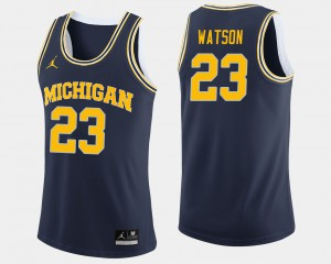 Navy Men #23 Ibi Watson Michigan Jersey College Basketball 925139-689