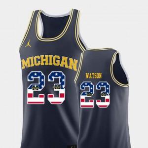 Men USA Flag Navy Ibi Watson Michigan Jersey College Basketball #23 276686-912