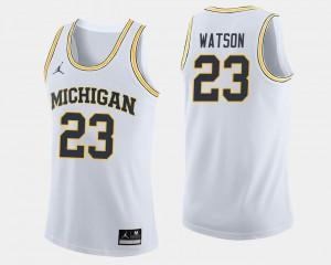 For Men White Ibi Watson Michigan Jersey #23 College Basketball 345717-396