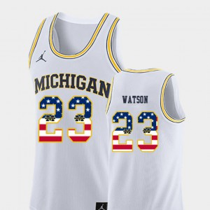 For Men's USA Flag Ibi Watson Michigan Jersey #23 White College Basketball 921604-537