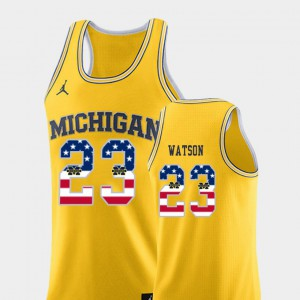 Men's Ibi Watson Michigan Jersey #23 College Basketball Yellow USA Flag 314115-250