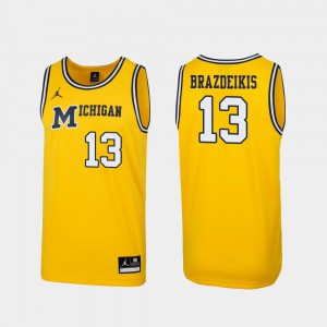 1989 Throwback College Basketball Men #13 Replica Ignas Brazdeikis Michigan Jersey Maize 432440-737