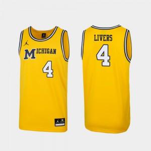 Men's Replica Isaiah Livers Michigan Jersey Maize 1989 Throwback College Basketball #4 844935-216