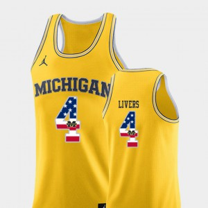 #4 USA Flag College Basketball Yellow For Men Isaiah Livers Michigan Jersey 700517-926