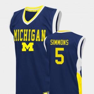 College Basketball Blue #5 Fadeaway Jaaron Simmons Michigan Jersey Men 559032-223