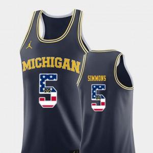Navy College Basketball Jaaron Simmons Michigan Jersey #5 USA Flag Mens 544564-444