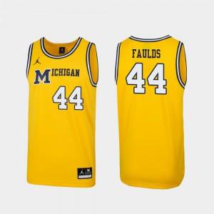 Replica Men's #44 1989 Throwback College Basketball Maize Jaron Faulds Michigan Jersey 698031-610