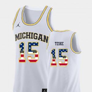 Mens USA Flag College Basketball Jon Teske Michigan Jersey #15 White 151549-370