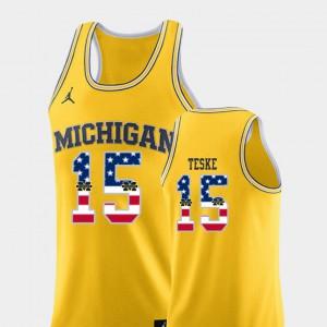 College Basketball Yellow USA Flag Jon Teske Michigan Jersey #15 Men 117091-606